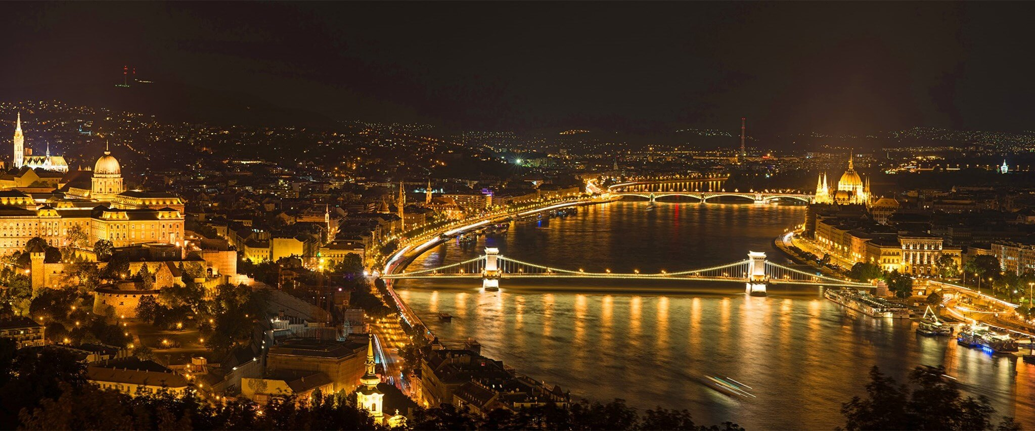 Aerial View of City Of Budapest at night